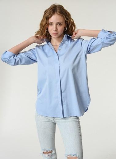 NGSTYLE NGSTYLE Kadın Poplin Rahat Fit Günlük Gömlek Mavi